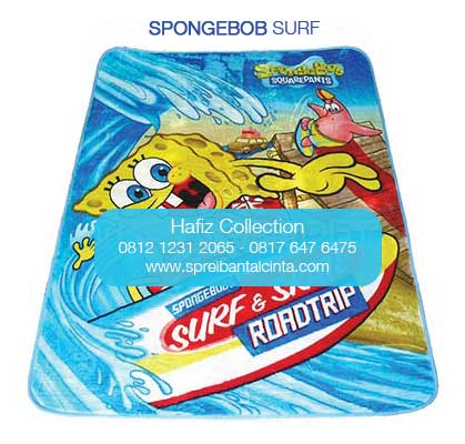 Jual Selimut Karpet -karpet selimut - spongebob surf  - Motif Kartun - Bogor - 0812 1231 2065