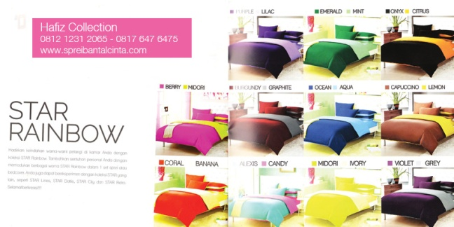 Sprei-Polos-Star, Sprei-Pelangi-Rainbow, Sprei-Warna, Bedcover-Polos - Katalog-Sprei-Star-All-New-2014-Collection - 081212312065